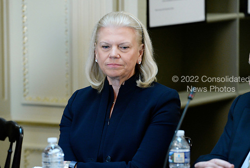 Ginni Rometty, CEO, IBM listens as US President Donald Trump speaks during a strategic and policy discussion with CEOs in the State Department Library in the Eisenhower Executive Office Building (EEOB) in Washington, DC, April 11, 2017.<br /> Credit: Olivier Douliery / Pool via CNP
