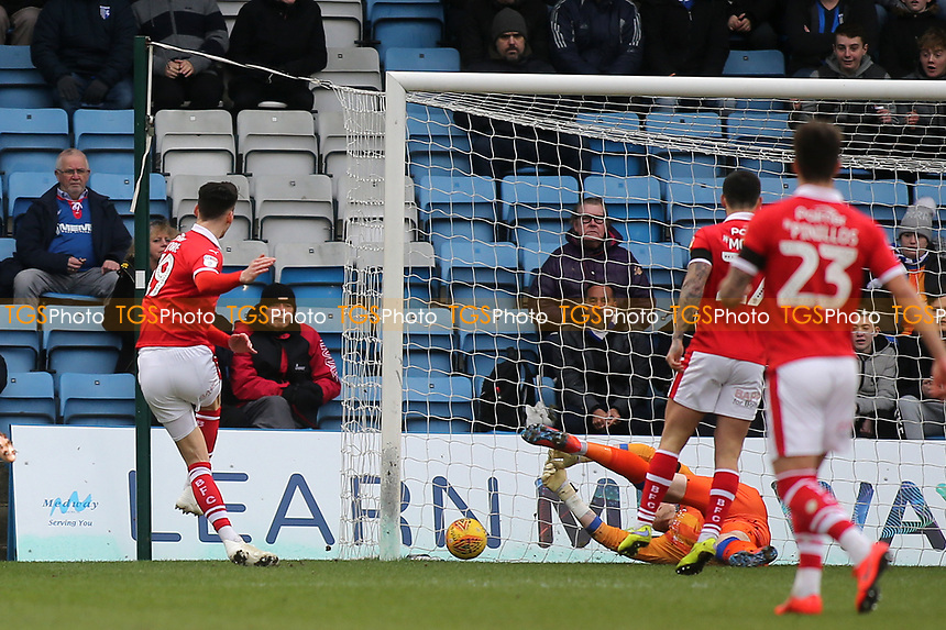 Kieffer Moore scores Barnsley's opening goal during Gillingham vs Barnsley, Sky Bet EFL League 1 Football at The Medway Priestfield Stadium on 9th February 2019