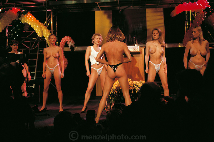 Erotica 2000 sex fair. Semi-naked women on stage. Copenhagen, Denmark.