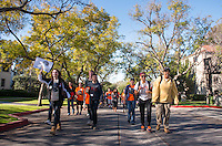 Walking towards the busses at the start of the day.<br />