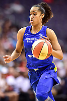 Washington, DC - August 12, 2018: Dallas Wings All-Star guard Skylar Diggins-Smith (4) drives to the basket during game between the Washington Mystics and the Dallas Wings at the Capital One Arena in Washington, DC. (Photo by Phil Peters/Media Images International)