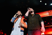MIAMI, FL - OCTOBER 09: Leonel Garcia and Noel Schajris of Sin Bandera Band perform during Sin Bandera Tour In Miami at American Airlines Arena on October 9, 2016 in Miami, Florida. Credit: MPI10 / MediaPunch