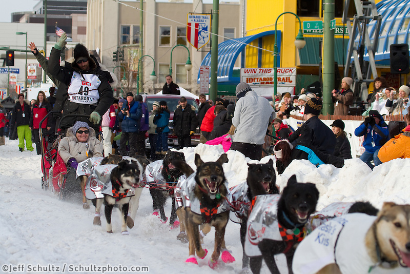 2010 Iditarod Ceremonial Start in Anchorage Alaska musher # 49 LANCE MACKEY with Iditarider BETTE ISACOFF