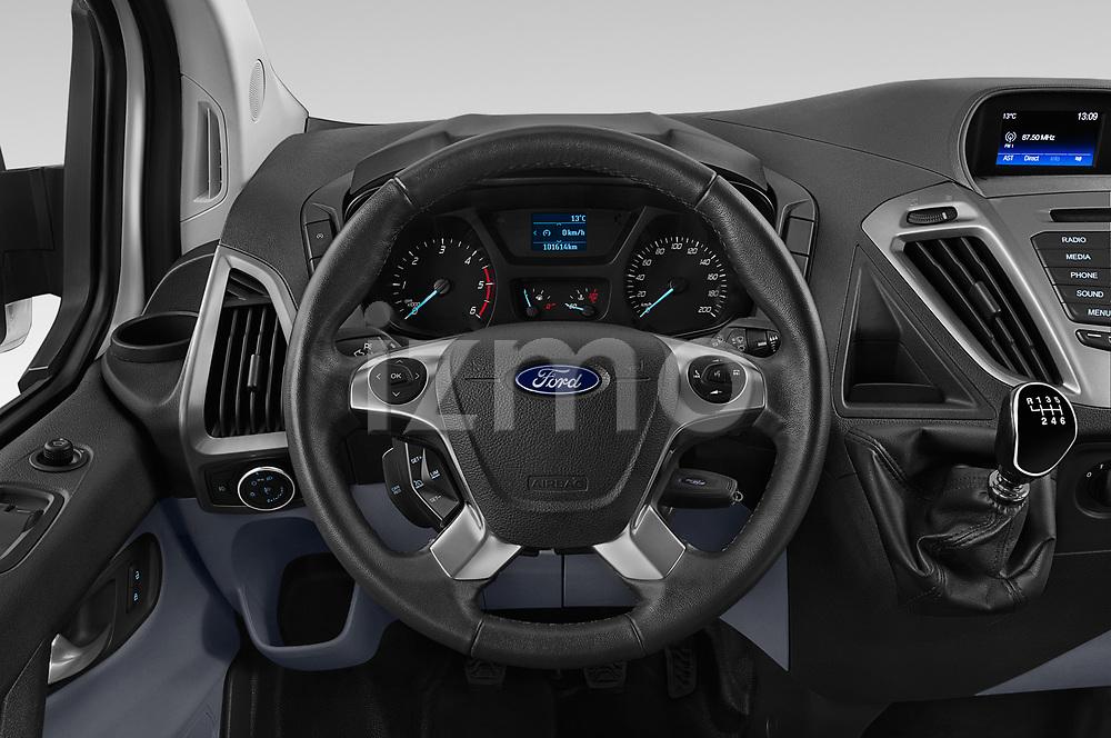 Car pictures of steering wheel view of a 2018 Ford Transit-Custom Trend 4 Door Passanger Van Steering Wheel