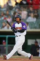 Freddy Parejo of the Lancaster JetHawks during game against the Visalia Rawhide at Clear Channel Stadium in Lancaster,California on June 10, 2010. Photo by Larry Goren/Four Seam Images
