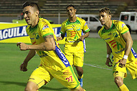 NEIVA- COLOMBIA, 14-10-2019:Harold Rivera  jugador del Atlético Huila celebra después de anotar un gol al  Atlético Bucaramanga durante partido por la fecha 17 de la Liga Águila II 2019 jugado en el estadio Guillermo Plazas Alcid de la ciudad de Neiva. / Harold Rivera player of Atletico Huila celebrates after scoring a goal agaisnt of Atletico Bucaramanga during the match for the date 17 of the Liga Aguila II 2019 played at the Guillermo Plazas Alcid Stadium in Neiva  city. Photo: VizzorImage / Sergio Reyes / Contribuidor.