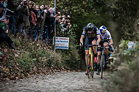Later race winner Toon Aerts (BEL/Telenet Fidea Lions) and Wout Van Aert (BEL/Cibel Cebon Offroad Team) riding the cobbles of the Koppenberg.<br /> <br /> Koppenbergcross Belgium 2018