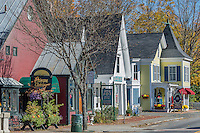 Quaint shops along Main Street, Woodstock, Vermont, USA