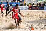 AL SINANI Jalal Khamis Rebee'a of Oman competes for the ball with TABATA Teruki of Japan during the Beach Soccer Men's Team Gold Medal Match between Japan and Oman on Day Nine of the 5th Asian Beach Games 2016 at Bien Dong Park on 02 October 2016, in Danang, Vietnam. Photo by Marcio Machado / Power Sport Images
