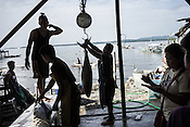 Workers weigh the sustainably caught tuna at a buying unit in Puerto Princesa, Palawan in the Philippines. <br /> Photo: Sanjit Das/Panos for Greenpeace