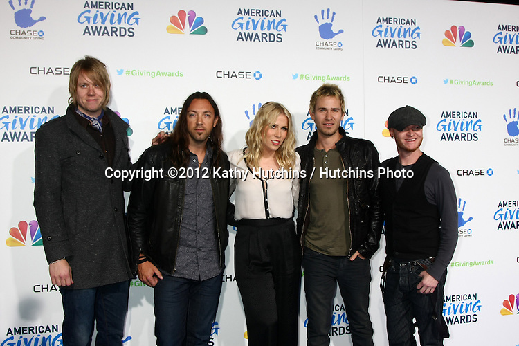LOS ANGELES - DEC 7:  Lifehouse, Natasha Bedingfield arrives to the 2012 American Giving Awards at Pasadena Civic Center on December 7, 2012 in Pasadena, CA