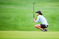Danielle Kang (USA) reacts to barely missing her putt on 15 during Friday's second round of the 72nd U.S. Women's Open Championship, at Trump National Golf Club, Bedminster, New Jersey. 7/14/2017.<br /> Picture: Golffile | Ken Murray<br /> <br /> <br /> All photo usage must carry mandatory copyright credit (&copy; Golffile | Ken Murray)