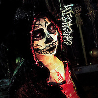 A Salvadoran girl, wearing a home made mask, takes part in an annual festivity of Día de la Calabiuza in Tonacatepeque, El Salvador, 1 November 2016., wearing a home made mask, takes part in an annual festivity of Día de la Calabiuza in Tonacatepeque, El Salvador, 1 November 2016.