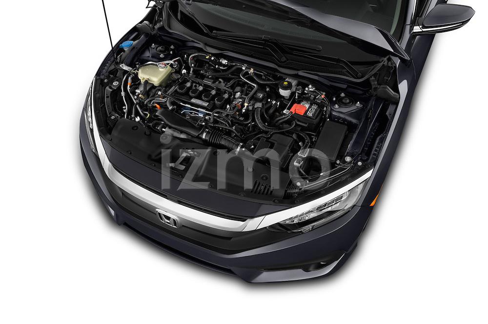 Car Stock 2016 Honda Civic Touring CVT 4 Door Sedan Engine  high angle detail view