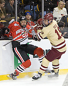 Luke Eibler (Northeastern - 20), Chris Kreider (BC - 19) - The Boston College Eagles defeated the Northeastern University Huskies 7-1 in the opening round of the 2012 Beanpot on Monday, February 6, 2012, at TD Garden in Boston, Massachusetts.