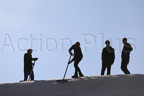 11th November 2017, Milan, Italy; Big Air FIS Freestyle Snowboard World Cup; The staff groom the course