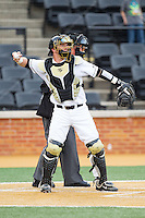 Wake Forest Demon Deacons catcher Ben Breazeale (9) throws the ball back to his pitcher during the game against the Maryland Terrapins at Wake Forest Baseball Park on April 4, 2014 in Winston-Salem, North Carolina.  The Demon Deacons defeated the Terrapins 6-4.  (Brian Westerholt/Four Seam Images)