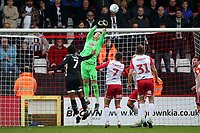 Paul Farman of Stevenage punches clear during Stevenage vs Grimsby Town, Sky Bet EFL League 2 Football at the Lamex Stadium on 12th October 2019