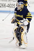 Joe Cannata (Merrimack - 35) is announced as a Warrior starter. - The visiting Merrimack College Warriors defeated the Northeastern University Huskies 4-3 (OT) on Friday, February 4, 2011, at Matthews Arena in Boston, Massachusetts.