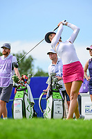 Michelle Wie (USA) watches her tee shot on 1 during Thursday's round 1 of the 2017 KPMG Women's PGA Championship, at Olympia Fields Country Club, Olympia Fields, Illinois. 6/29/2017.<br /> Picture: Golffile | Ken Murray<br /> <br /> <br /> All photo usage must carry mandatory copyright credit (&copy; Golffile | Ken Murray)