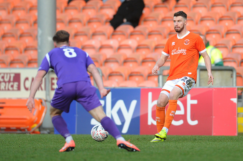 Blackpool's James Husband<br /> <br /> Photographer Kevin Barnes/CameraSport<br /> <br /> Emirates FA Cup Second Round - Blackpool v Maidstone United - Sunday 1st December 2019 - Bloomfield Road - Blackpool<br />  <br /> World Copyright © 2019 CameraSport. All rights reserved. 43 Linden Ave. Countesthorpe. Leicester. England. LE8 5PG - Tel: +44 (0) 116 277 4147 - admin@camerasport.com - www.camerasport.com