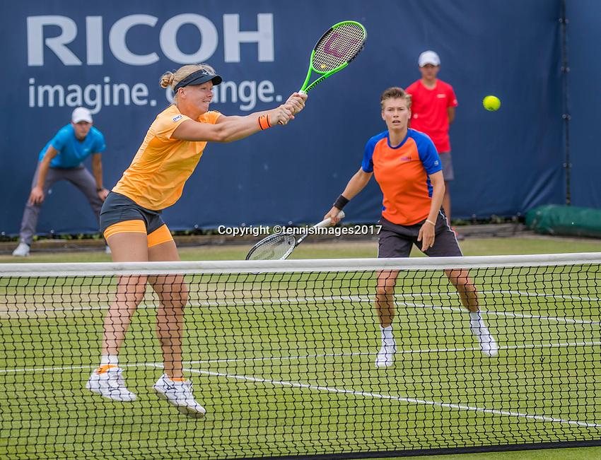Den Bosch, Netherlands, 17 June, 2017, Tennis, Ricoh Open,  Woman's doubles Final : Kiki Bertens (NED) / Demi Schuurs (NED) (R)<br /> Photo: Henk Koster/tennisimages.com