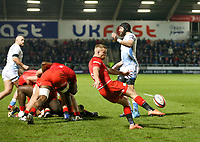 7th February 2020; AJ Bell Stadium, Salford, Lancashire, England; Premiership Cup Rugby, Sale Sharks versus Saracens;  Tom Whiteley (Capt) of Saracens box kicks
