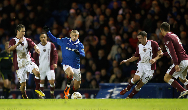 Vladimir Weiss takes on the Hearts defence