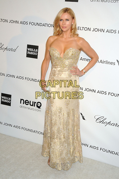 Veronica Ferres.21st Annual Elton John Academy Awards Viewing Party held at West Hollywood Park, West Hollywood, California, USA..February 24th, 2013.oscars full length gold strapless beads beaded dress hand on hip.CAP/ADM/BP.©Byron Purvis/AdMedia/Capital Pictures.
