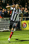 Nathan Arnold of Grimsby Town celebrates scoring his second goal of the game against Eastleigh Football Club to make it 1-2 during the Vanamara Conference Play Off Semi Final First Leg match between Eastleigh and Grimsby Town at The Silverlake Stadium, Eastleigh<br /> Picture by David Horn/eXtreme aperture photography +44 7545 970036<br /> 30/04/2015