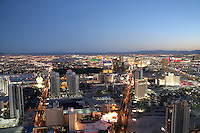Aerial view dusk lighting The Strip Las Vegas Nevada