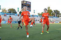 Cary, North Carolina  - Saturday September 09, 2017: Rachel Daly and Sarah Hagen prior to a regular season National Women's Soccer League (NWSL) match between the North Carolina Courage and the Houston Dash at Sahlen's Stadium at WakeMed Soccer Park. The Courage won the game 1-0.