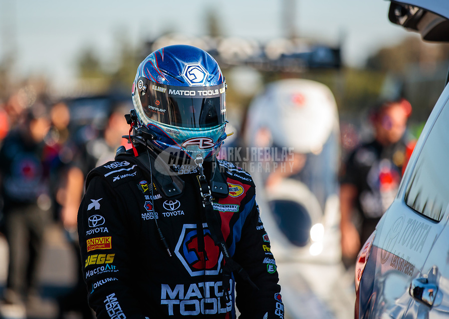 Nov 9, 2018; Pomona, CA, USA; NHRA top fuel driver Antron Brown during qualifying for the Auto Club Finals at Auto Club Raceway. Mandatory Credit: Mark J. Rebilas-USA TODAY Sports