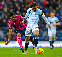 Blackburn Rovers' Bradley Dack holds off the challenge from Queens Park Rangers' Massimo Luongo<br /> <br /> Photographer Alex Dodd/CameraSport<br /> <br /> The EFL Sky Bet Championship - Blackburn Rovers v Queens Park Rangers - Saturday 3rd November 2018 - Ewood Park - Blackburn<br /> <br /> World Copyright &copy; 2018 CameraSport. All rights reserved. 43 Linden Ave. Countesthorpe. Leicester. England. LE8 5PG - Tel: +44 (0) 116 277 4147 - admin@camerasport.com - www.camerasport.com
