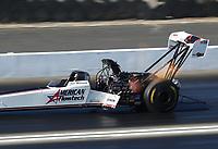 Nov 16, 2019; Pomona, CA, USA; NHRA top fuel driver Jim Maroney during qualifying for the Auto Club Finals at Auto Club Raceway at Pomona. Mandatory Credit: Mark J. Rebilas-USA TODAY Sports