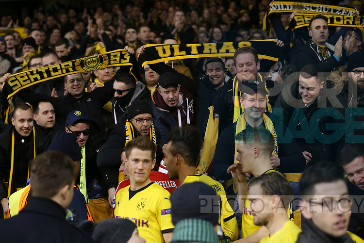 Dortmund's players mix with their fans after the Europa League match at White Hart Lane Stadium.  Photo credit should read: David Klein/Sportimage