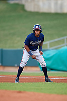 Mississippi Braves third baseman Luis Valenzuela (1) leads off first base during a game against the Montgomery Biscuits on April 24, 2017 at Montgomery Riverwalk Stadium in Montgomery, Alabama.  Montgomery defeated Mississippi 3-2.  (Mike Janes/Four Seam Images)