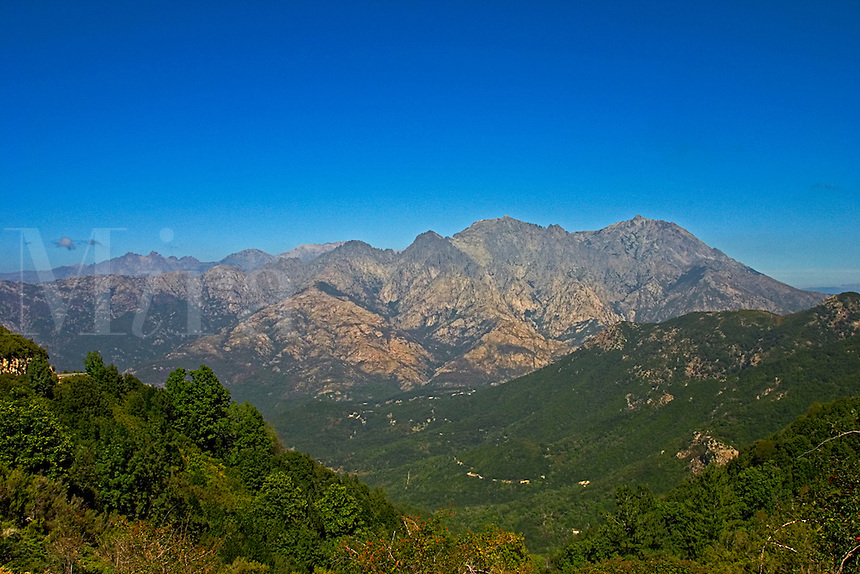 Corsica.  Monte d'Oro, 2389m,  massif from the Col de Scalella. Monte Rotondo in the distance. France..
