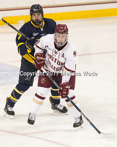 Jonathan Lashyn (Merrimack - 7), Ryan Fitzgerald (BC - 19) - The visiting Merrimack College Warriors defeated the Boston College Eagles 6 - 3 (EN) on Friday, February 10, 2017, at Kelley Rink in Conte Forum in Chestnut Hill, Massachusetts.