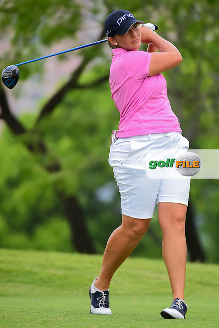 Angela Stanford (USA) watches her tee shot on 3 during round 3 of  the Volunteers of America Texas Shootout Presented by JTBC, at the Las Colinas Country Club in Irving, Texas, USA. 4/29/2017.<br /> Picture: Golffile   Ken Murray<br /> <br /> <br /> All photo usage must carry mandatory copyright credit (&copy; Golffile   Ken Murray)