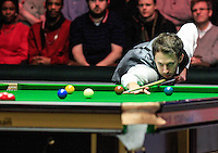 Judd Trump starts the game with a break during the Dafabet Masters Quarter Final 2 match between Judd Trump and Neil Robertson at Alexandra Palace, London, England on 15 January 2016. Photo by Liam Smith / PRiME Media Images.