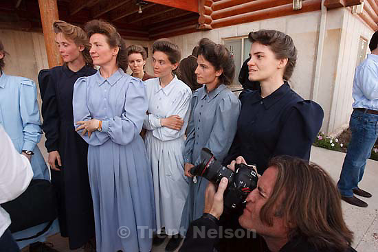 "Eldorado - FLDS women speak to the media after they were removed from their children Monday, April 14, 2008, at the YFZ ""Yearning for Zion"" Ranch. This was the first time that the media was invited onto the ranch; 04.14.2008 keith johnson"