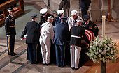 A military honor guard brings the casket of the late United States Senator John S. McCain, III (Republican of Arizona) to the Memorial service in his honor in the Washington National Cathedral in Washington, DC on Saturday, September 1, 2018.<br /> Credit: Ron Sachs / CNP<br /> <br /> (RESTRICTION: NO New York or New Jersey Newspapers or newspapers within a 75 mile radius of New York City)