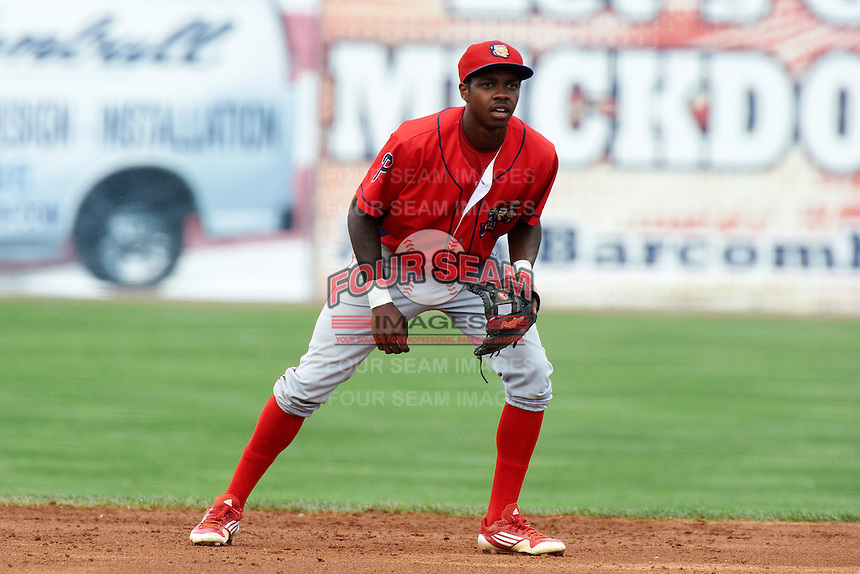 Williamsport Crosscutters shortstop Roman Quinn #4 during a NY-Penn League game against the Batavia Muckdogs at Dwyer Stadium on August 26, 2012 in Batavia, New York.  Batavia defeated Williamsport 7-1.  (Mike Janes/Four Seam Images)