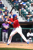 Buffalo Bisons second baseman Andy Burns (41) at bat during a game against the Louisville Bats on May 2, 2015 at Coca-Cola Field in Buffalo, New York.  Louisville defeated Buffalo 5-2.  (Mike Janes/Four Seam Images)