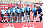Astana Pro Team at sign on in Fortezza Medicea before the start of Strade Bianche 2019 running 184km from Siena to Siena, held over the white gravel roads of Tuscany, Italy. 9th March 2019.<br /> Picture: Eoin Clarke | Cyclefile<br /> <br /> <br /> All photos usage must carry mandatory copyright credit (© Cyclefile | Eoin Clarke)