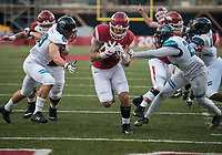 NWA Democrat-Gazette/CHARLIE KAIJO Arkansas Razorbacks tight end Austin Cantrell (44) runs a ball in the end zone for a score in the second half during a football game on Saturday, November 4, 2017 at Razorback Stadium in Fayetteville