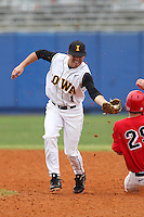Iowa Hawkeyes infielder Kasey Carling #1 attempts to tag a baserunner during a game against the Illinois State Redbirds at Chain of Lakes Stadium on March 11, 2012 in Winter Haven, Florida.  Illinois State defeated Iowa 10-6.  (Mike Janes/Four Seam Images)