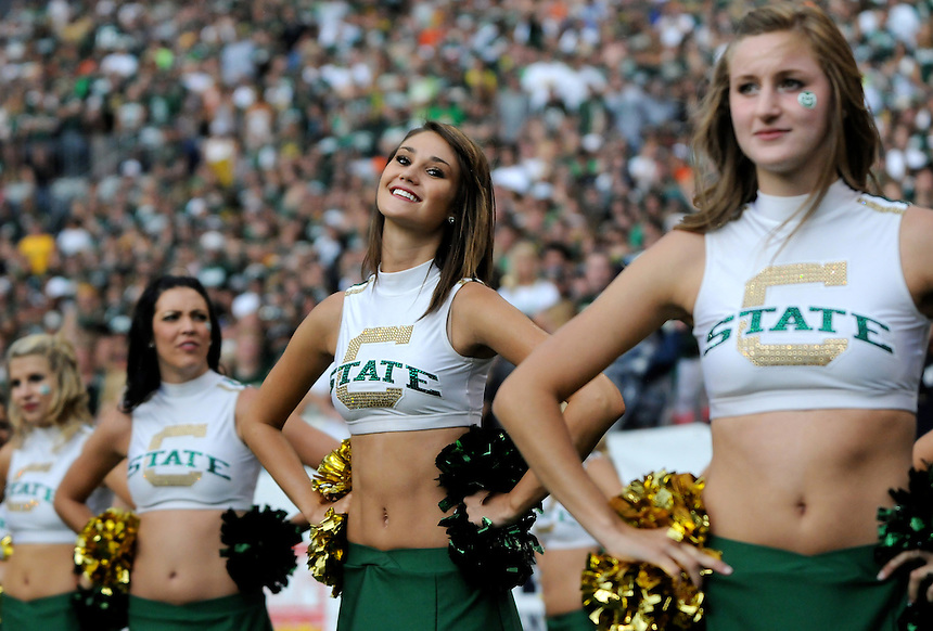 SEPTEMBER 17, 2011:  Colorado State Rams cheerleaders    during an inter-conference game between the Colorado State Rams and the University of Colorado Buffaloes at Sports Authority Field at Mile High Field in Denver, Colorado. The Buffaloes led 14-7 at halftime*****For editorial use only*****