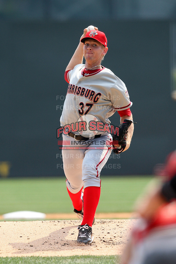 April 11, 2010:  First overall draft pick of the 2009 MLB Draft Stephen Strasburg (37) delivers the first pitch making his professional debut with the Harrisburg Senators, Double-A affiliate of the Washington Nationals, in a game vs. the Altoona Curve, affiliate of the Pittsburgh Pirates, at Blair County Ballpark in Altoona, PA.  Photo By Mike Janes/Four Seam Images
